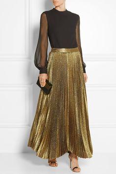 Alice + Olivia|Katz pleated metallic silk-blend maxi skirt|NET-A-PORTER.COM