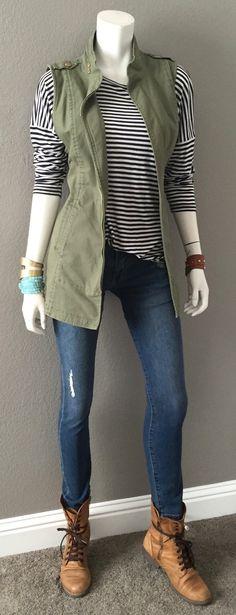 cabi spring '16 Destructed Skinny, Boat Stripe Tee & Explorer Vest w bracelets & combat boots. Just my style.  #fallintospring #cabiclothing