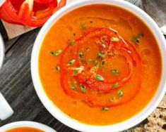 This copycat red pepper soup is perfect for any day of the week. Roasted red peppers, basil, balsamic, and cream really take this scrumptious soup over the edge. Bell Pepper Soup, Roasted Red Pepper Soup, Stuffed Pepper Soup, Roasted Red Peppers, Stuffed Peppers, Baker Recipes, Soup Recipes, Vegetarian Recipes, Cooking Recipes