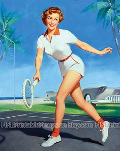 pinup pin up vintage classic old retro illustration drawing painting poster girl woman pretty sexy vargas elvgren art tennis player playing sports racket net running shoes shorts shirt redhead red sky outdoors court outside grass artist hair dress 50s 40s 30s 20s 60s 70s 1920 1930 1940 1950 1960 1970 300dpi printable quality public domain creative commons free