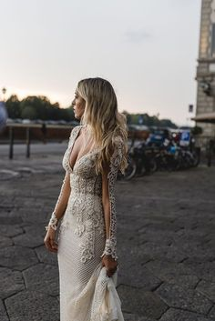 Lace embellished wedding dress