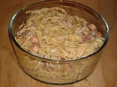 En verden af smag!: Spaghetti Carbonara med Pølser Danish Food, Spaghetti Bolognese, Healthy Recipes For Weight Loss, Italian Recipes, Macaroni And Cheese, Cabbage, Food And Drink, Baking, Vegetables