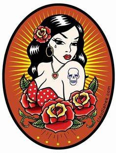 Gypsy Mexican Spanish Lady Roses Pin Up Tattoo