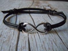 Infinity Bracelet Black Leather Adjustable - Eternal Love Symbol - Friendship - Handmade Jewelry - Infinity Jewelry by BohemienneBelle on Etsy https://www.etsy.com/listing/95584551/infinity-bracelet-black-leather