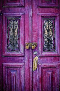 Fuscia colored door