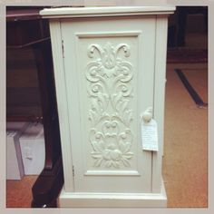 Upcycled bedside cabinet with lovely engraved frontage. Pair available. #thepackhouse