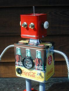 robots made with found items | COLA Found Object Robot Sculpture Assemblage by NutzenBoltsWorks