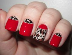 Zoendout Nails: Sassy and Classy Red Leopard half moons