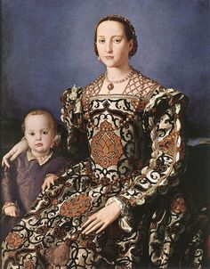 1550 Eleonora de Toledo by Bronzino (Uffizi)    Previous  Next  List  This 1550 Bronzino painting shows Eleonora de Toledo gorgeously dressed wearing a pomegranate print with a jeweled headdress and a jeweled reticulated partlet.