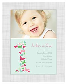 Photo Birthday Invitations Girls 1st birthday