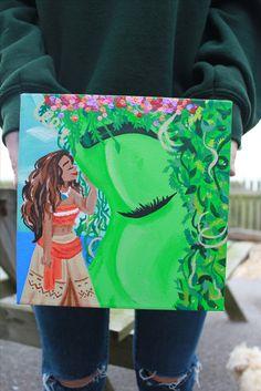 Hand painted Moana canvas. moana, moana painting, Disney's moana, Disney painting, Disney art, moana painting, home décor, Christmas present, children's room décor, teen room décor, princess