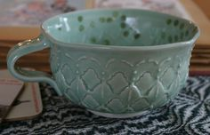 Aqua Pocelain Soup Cup.  Mark Strayer - North Star Pottery