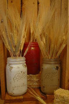 Down by the Barn painted mason jars set