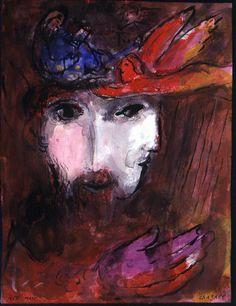 """Marc Chagall. Davide e Betsabea, 1955. Disegno per l'edizione """"Verve"""" della Bibbia. Inchiostro, acquerello e guazzo su carta, cm. 350 x 261. Regalo di Ida Chagall, Parigi"""