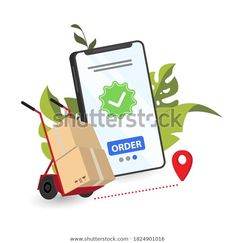 Online Delivery Phone Concept Fast Respond Stock Vector (Royalty Free) 1824901016 Image Now, Royalty Free Stock Photos, Banner, Delivery, Concept, Phone, Illustration, Banner Stands, Telephone