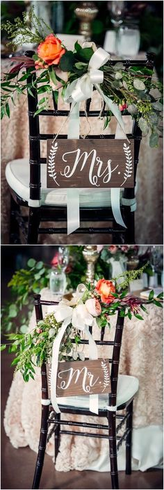 Mr and Mrs wedding chairs - I love these! The rustic wedding signs, white ribbons, roses and greenery all work together to make this arrangement gorgeous.