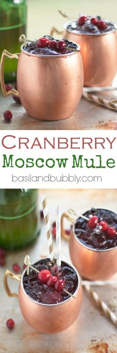 Cranberry Moscow Mule   Spicy ginger beer, tart cranberry juice, and a little hit of vodka will make your holidays cheery!   Basil And Bubbly