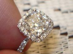 Pave 15 Ct Engagement Ring Thin Band Cushion Cut 33