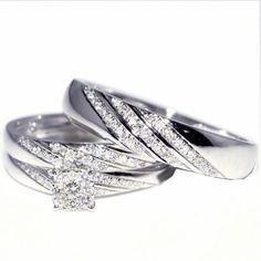 His   Her 3 Piece Wedding Ring Set White Gold Ep Sterling Silver and     His and Her Trio Wedding Rings Set 1 3cttw 10K White Gold Mens ring 5mm