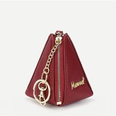 SheIn(sheinside) Pyramid Design Letter Print Wristlet Wallet (£5.72) ❤ liked on Polyvore featuring bags, wallets, red, white wristlet, print bags, white wallet, red wristlet and polyurethane bags