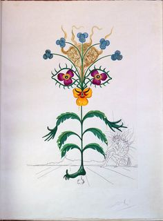 Salvador Dali Flora Dalinae (FlorDali), 10 color photoliths with engraving and hand coloring available at the Lockport Street Gallery