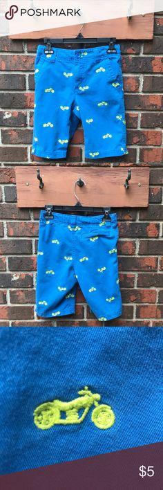 Boys Shorts Boys Sz 7 blue shorts with yellow motorcycles Bottoms Shorts