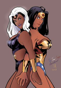 Storm and Wonder Woman by Stephane Roux