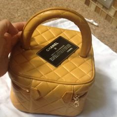 Chanel Vanity Cosmetic Yellow Wristlet $355 http://fashionbagarea.blogspot.com/  $159 Want! #chanel channel bags,channel for men,channel for women,chanel handbags