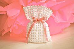 Items similar to Wedding favor - Baby shower - Crochet - White bag on Etsy