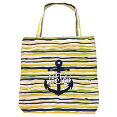 Monogrammed Personalized Tote- Anchor and Stripes in Navy, Yellow, and Lime