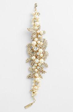 Nina 'Hallie' Faux Pearl & Crystal Bracelet | Nordstrom