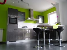 Grey And Green Kitchen i love this kitchen!!!green walls, white cabinets, black