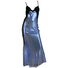 Pre-owned 1994/6 Versace Couture Metal Mesh Lingerie Evening Dress ($19,900) ❤ liked on Polyvore featuring dresses, gowns, evening dresses, evening gowns, short cocktail dresses, wet look dress, blue mesh dress and short blue dresses