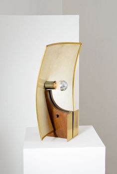 Maurizio Beltrami; Wood, Brass and Fiberglass Sail Table Lamp for Research and Design, c1970.
