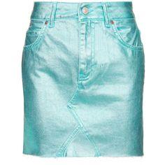 Topshop Moto Aqua Metallic Mini Skirt ($44) ❤ liked on Polyvore featuring skirts, mini skirts, topshop, aqua, blue metallic skirt, cotton skirts, blue cotton skirt, short cotton skirts and metallic skirt
