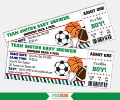 Sports Baby Shower Party Invitations by PixieBearParty on Etsy…