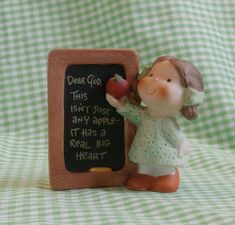 Enesco Dear God Kids - This Isn't Just Any Apple Vintage Collectible Bisque Figurine Teacher Education School Theme