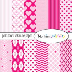 Pink Hearts Digital Paper Pack – pink scrapbook papers in a Valentine's Day theme – Valentine digital backgrounds - instant download – CU OK #pink #digiscrap #digitalpaper #ValentinesDay #hearts #Valentine