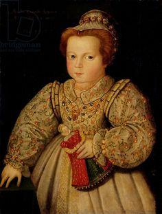 Lady Arabella Stuart (1575-1615) aged 23 months, 1577 (oil on panel), English School, (16th century) / Hardwick Hall, Derbyshire, UK / Natio...