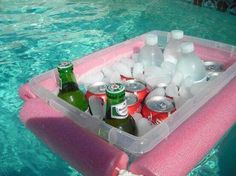 Craft cooler for the pool using pool noodles and plastic bin