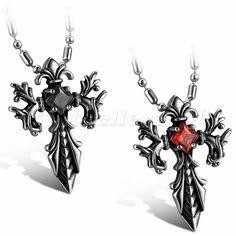 Gotik Punk Edelstahl Herren Halskette Kette Anhänger Schwert Kreuz mit Zirkonia