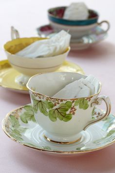 Vintage Tea Cup Favors. Mix, match and give to baby shower guests to begin their own collections.