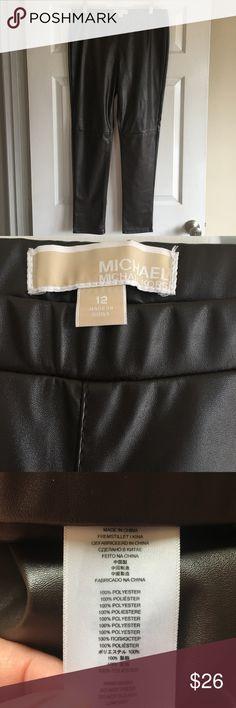MK brown faux leather leggings EUC Michael Kors faux leather leggings in a rich, dark brown color. No holes, stains, etc Michael Kors Pants Leggings