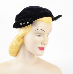 4f925687b59e7 1930 s Bold Black Wool Felt Calot Curvette Half Hat with Metal Gold ...