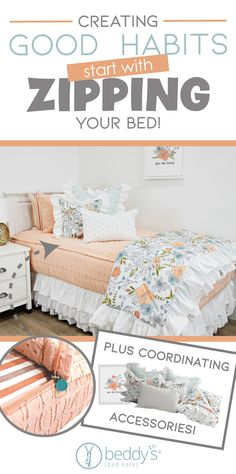 """Start your morning off right! With Beddy's we make it easy. All you do is zip! Use code """"PINTEREST"""" for a discount. #beddys #beddysbeds #zipperbedding #zipyourbed #bunkbeds Bed For Girls Room, Big Girl Rooms, Teen Bedroom, Bedroom Ideas, Floral Bedroom Decor, Beddys Bedding, Zipper Bedding, Shared Bedrooms, Cabin Design"""