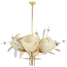 Paavo Tynell's iconic flower and leaf brass chandelier - 1950s