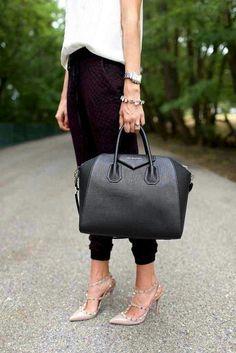 Black Givenchy bag + Valentino Rockstud nude heels