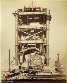 Image of the Tower Bridge, London dated June 27, 1892 showing steel frame construction prior to stone-cladding.