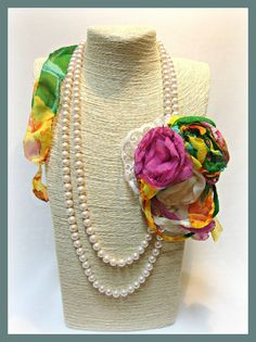 Handmade floral colorful pearl necklace-shabby chic-romantic jewelry-fabric flowers-brooches-muslin organza flowers-bridal-gift-pink green by veniakriezia on Etsy