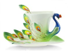 European Style Modern Green Bone China Wedding Gift Coffee Cup Tea Set Teaset